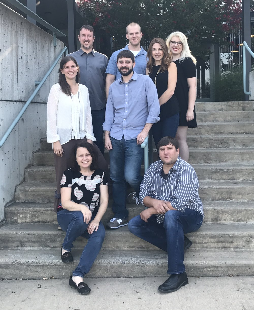 The deMx team, pictured from top left to bottom right: Tim Maddox, Seth Spradlin, Corinne Burns, Julia Trupp, Sarah McElroy, Ben Cruce, Julie Chambers, Gary Moore