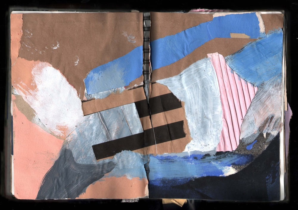 This book of collages was made in the winter of 2012/2013  Various papers, Oil and Acrylic based paints  Closed is 5.5 x 8.5 inches