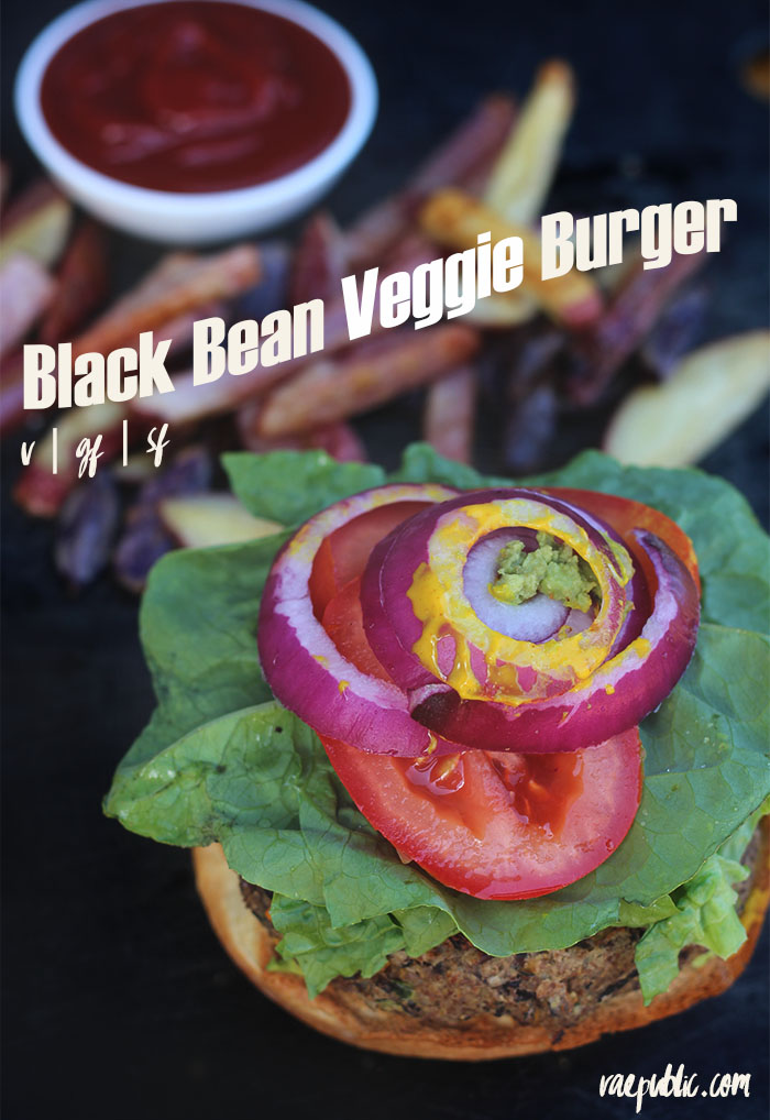 The easiest, most delicious, vegan Black Bean Veggie Burger ever! It's protein packed and is dairy-free, egg-free and gluten-free so ALL can enjoy!