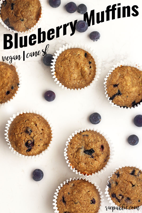 Easy vegan BLUEBERRY MUFFINS that are made with maple syrup and fruit, Cane-sugar free, egg-free, dairy-free