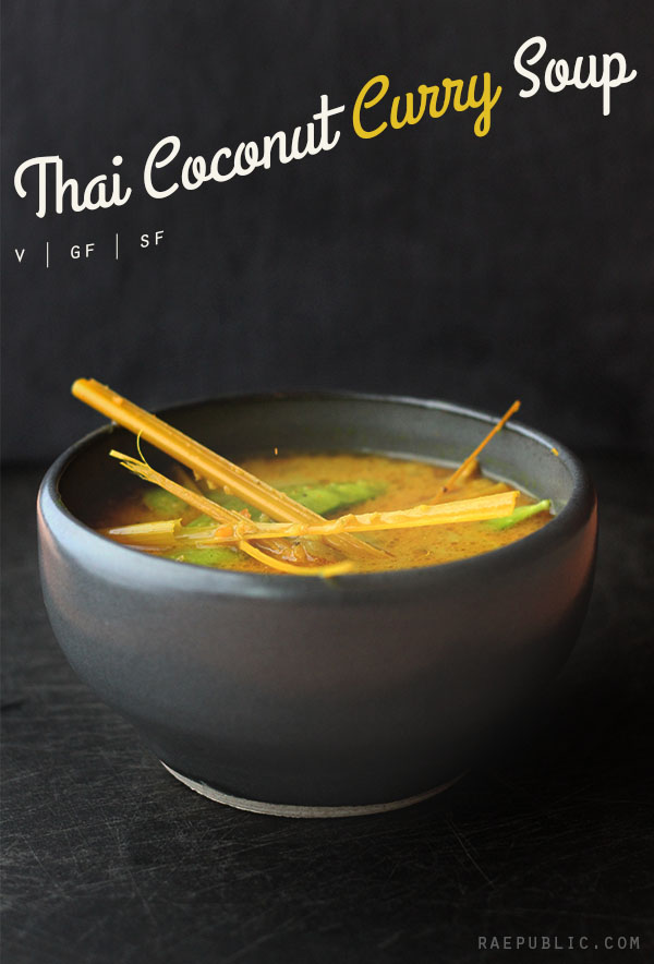 Taste bud tantilizing Thai coconut curry soup. It's dairy-free, egg-free and gluten-free which means it's vegan and that everyone can enjoy it.