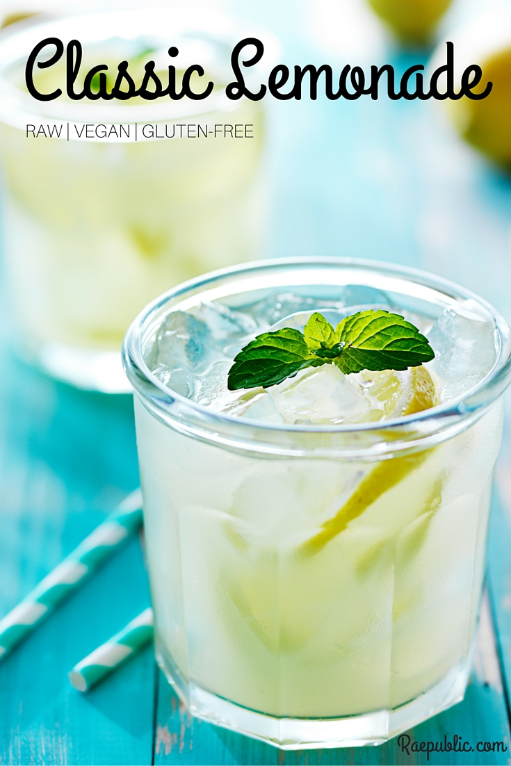Easy, 3 ingredient raw lemonade that is accidentally vegan and gluten free.