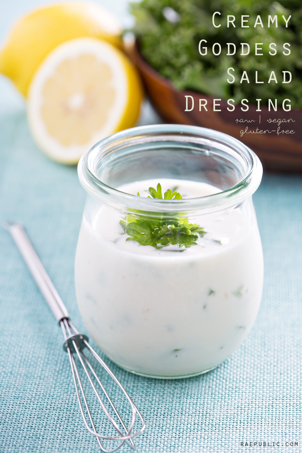 Raepublic's easy to make creamy goddess salad dressing that is naturally raw, vegan and gluten-free. It's almost sugar-free but it has a dash of maple syrup added to it.