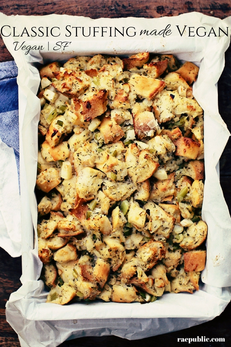 Delicious vegan homemade stuffing perfect for the holiday season!
