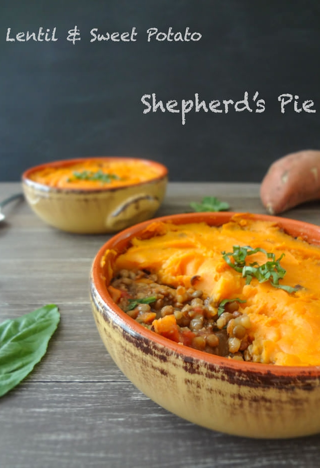 Vegan lentil and sweet potato shepherd's pie!