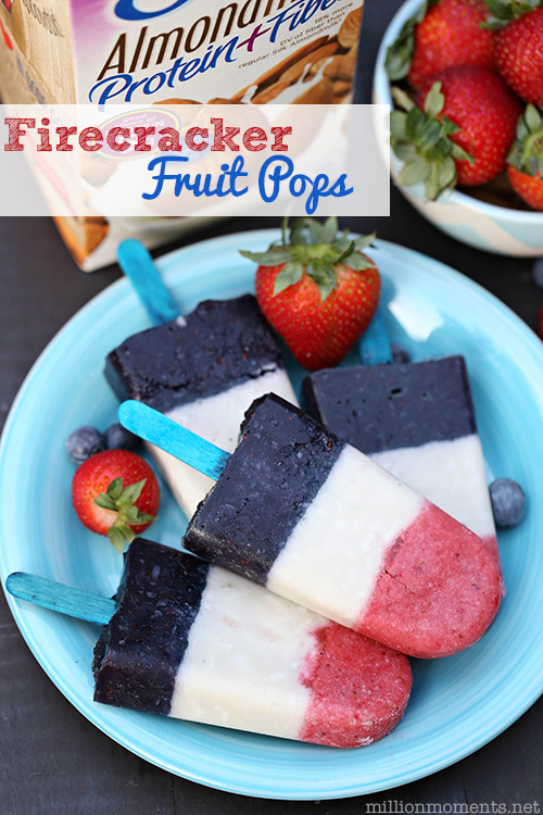 FIRECRACKER FRUIT POPS - Packed full of blueberries and strawberries these easy vegan popsicles are loaded with antioxidants! Woohoo! Fun, easy on the eyes and nutritious, I'll take three!