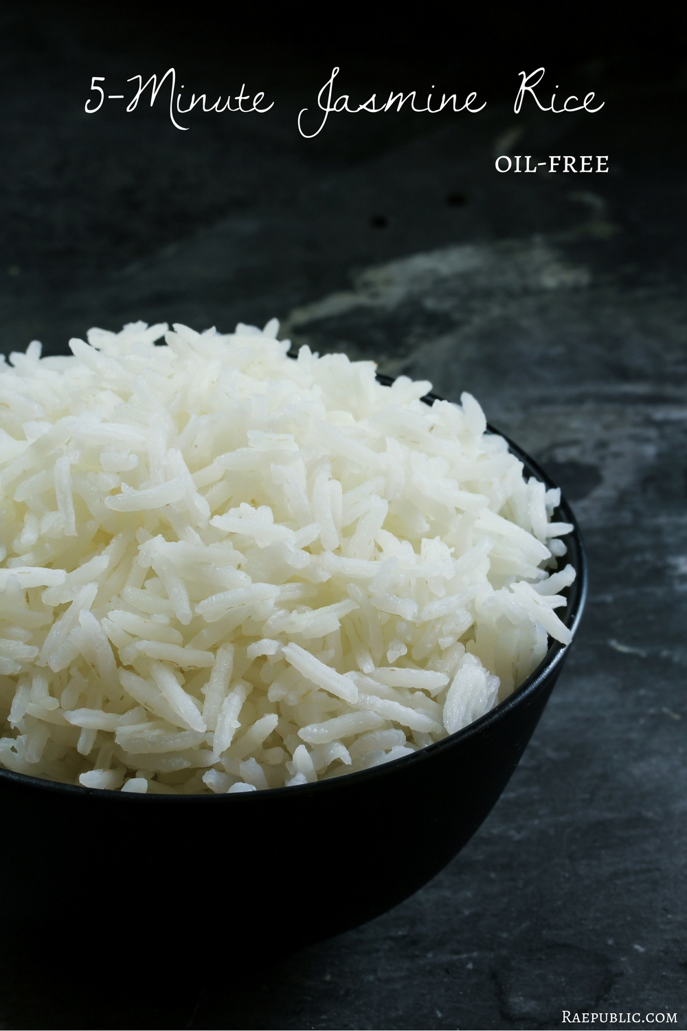 Easy five-minute jasmine rice that is oil free and vegan obviously.