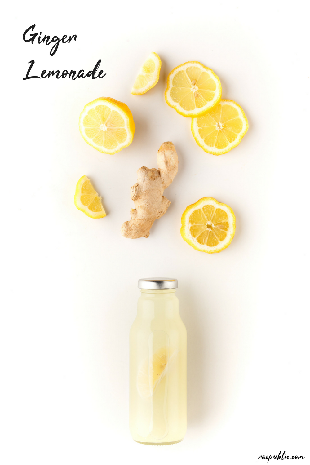 Easy vegan ginger lemonade made with fresh -squeezed lemon juice, all-natural maple syrup and organic grated ginger.
