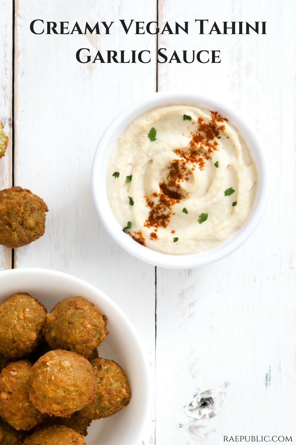 Easy vegan creamy tahini garlic sauce that takes minutes to make. Nutrually gluten free and dairy free makes this a tasty sauce for any vegan meal.