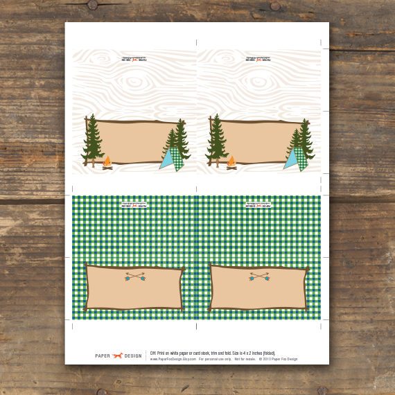 C& Theme Menu Tent Cards & Camp Theme Menu Tent Cards u2014 PaperFoxDesign