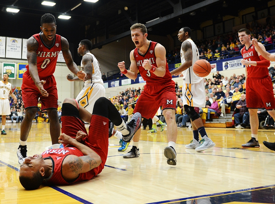 The Miami Redhawks react after hearing the outcome of the referee's call during the first half of gameplay against Kent State, February 7, 2015. Kent State would edge the Redhawks  for a 61-60 win.