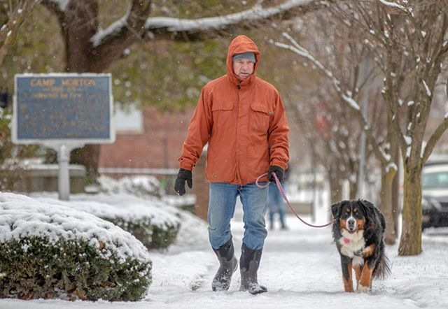 Tom Hartmann, of Indianapolis, walks his dog, Lucy, as light snow falls throughout central Indiana on Tuesday. The National Weather Service in Indianapolis is warning Central Indiana drivers to use extra caution as snow showers and flurries continue into the evening. (Follow the photographer  @bobscheer)