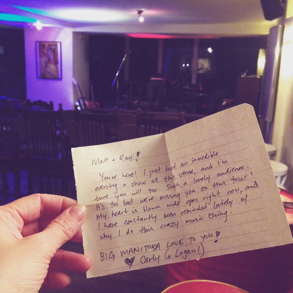 Köln, D  E  – A note left for us at the venue by fellow Winnipeger Carly Dow who had been there a week before.