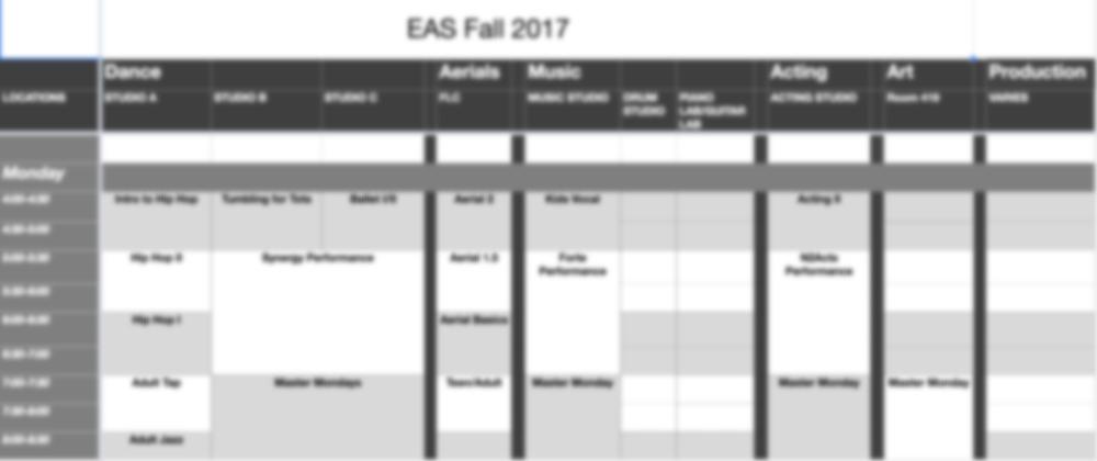 2018/19 schedule -