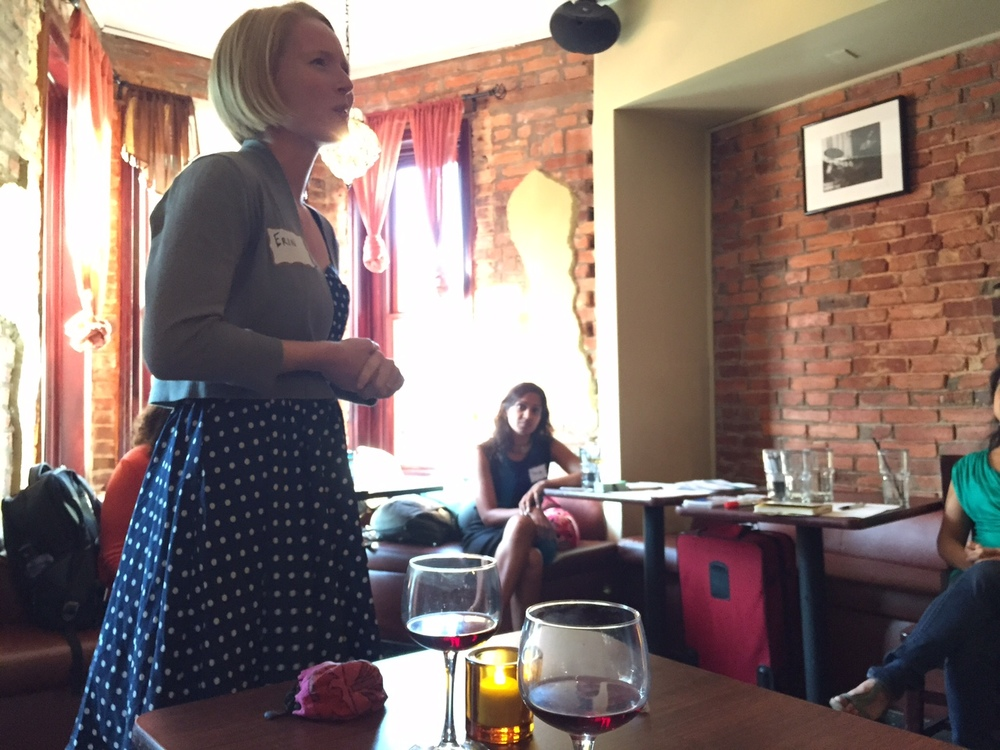Erin presents at Tualens' first fundraiser in Washington, D.C. (July 2015)
