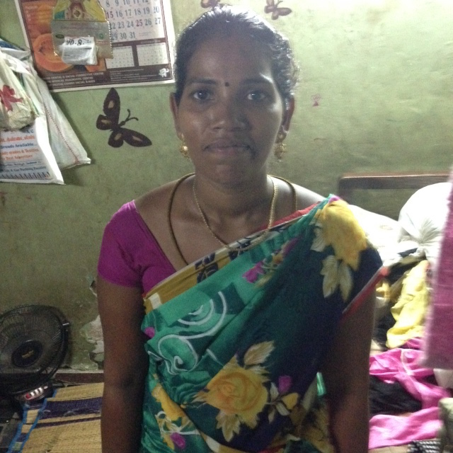 Pictured above is Nagavalli, our customer, in her home in Dhideer Nagar, one of Chennai's slum areas.
