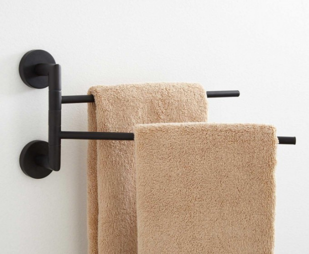 For all fixtures placed on white walls, I want to scrap the silver towel hooks and rods and add matte black fixtures like this one. Matte black will again provide the contrast I'm looking for.
