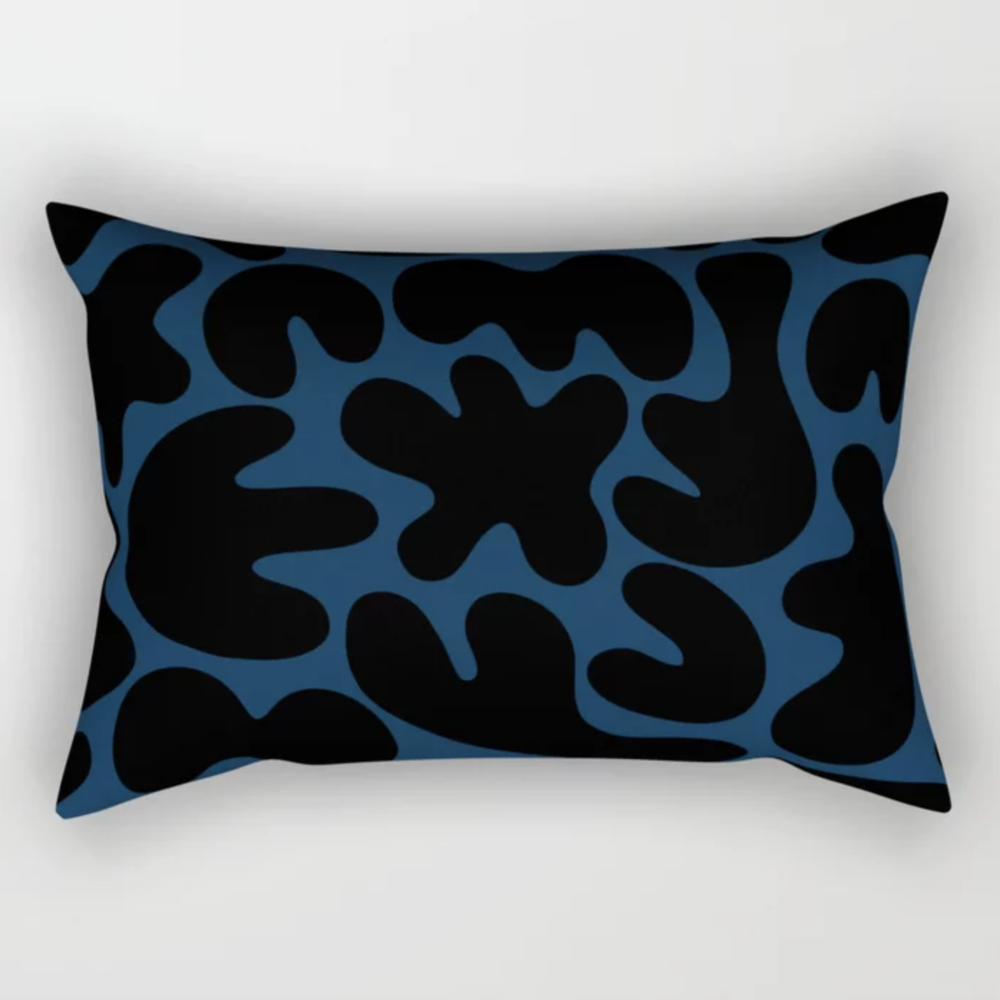 Blob Collage Navy Rectangle Throw Pillow