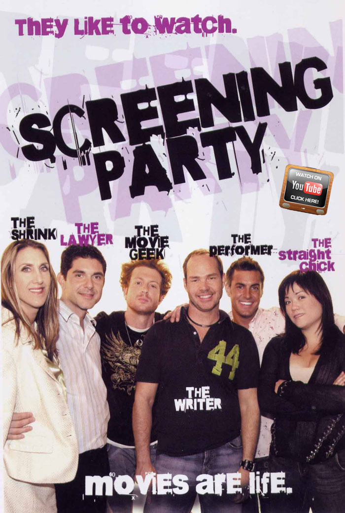 The cast of Screening Party the pilot: Nora Burns, Felix Pire, Ossie Beck, Dennis Hensley, Tony Tripoli and Erin Quill