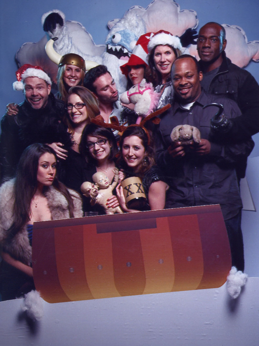 A lot of the staff at the E! Holiday party in 2010.