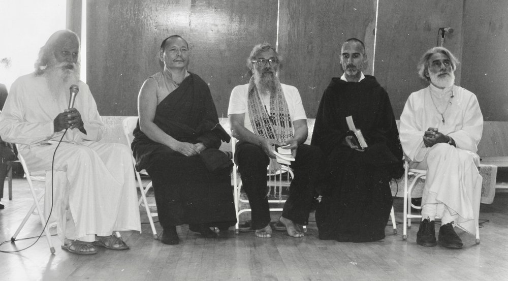 "Swami Satchidananda, Khenpo Karthar Rinpoche, Rabbi Zalman Schachter-Shalomi, Brother David Steindl-Rast, and Pir Vilayat Inayat Khan in dialogue, ca. 1981. From the ""Zalman Schachter-Shalomi Collection"" of the University of Colorado Archives."
