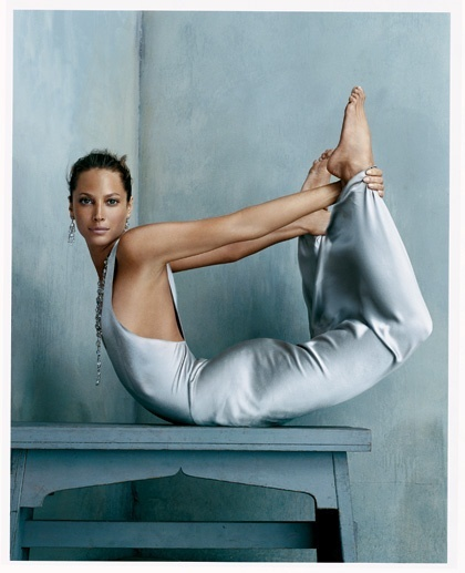 Christy Turlington, bow pose,  Vogue , October 2002