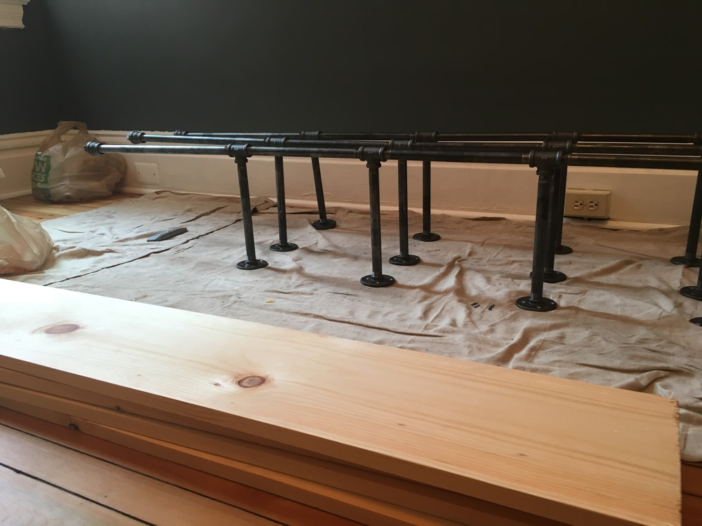 DIY Pipe Shelves