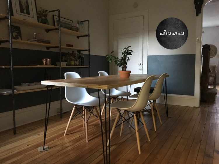 Dining Room: Eames Style Chairs, Handmade Dining Table, DIY Pipe Shelving