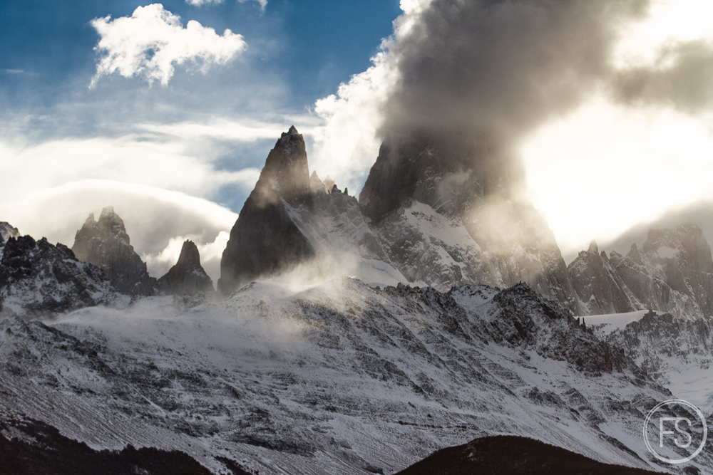From closer, I prefer seeing more of the overall Patagonian landscape. We can see that clouds are already starting to gather around the peaks.