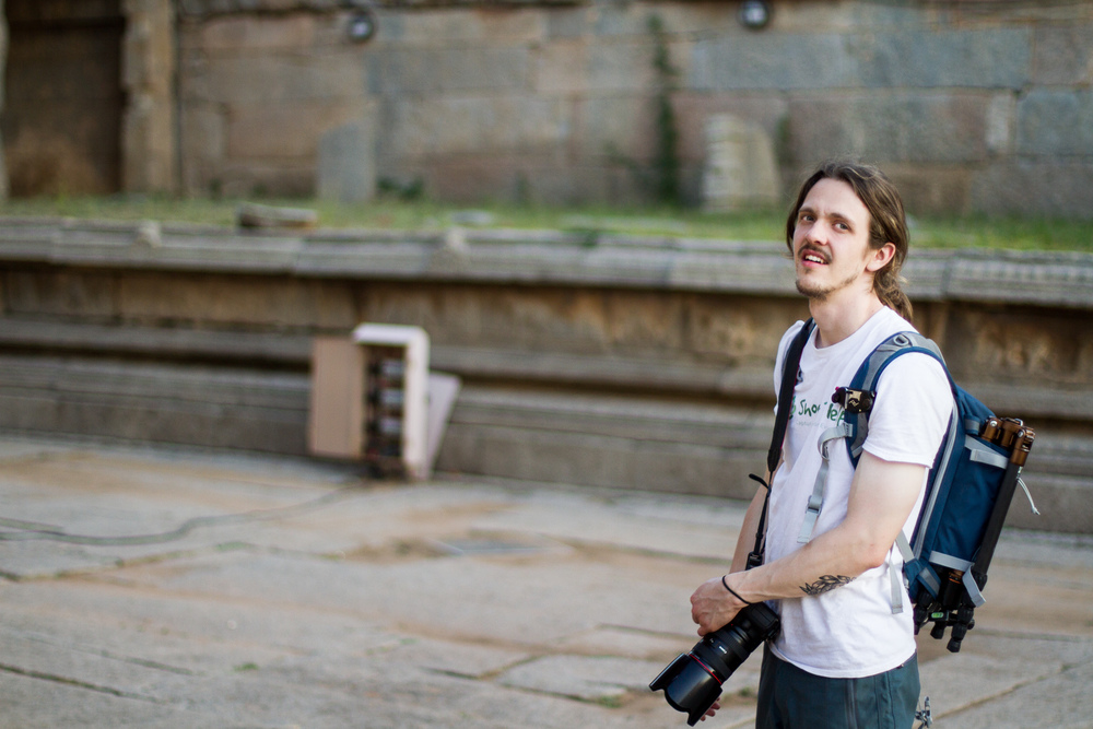 Me looking around Vittala, thinking of a way to show the temple minus the crowds. Thanks Vince for the picture!