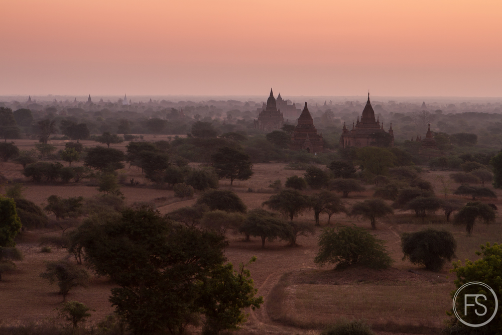 The magnificient sunrise over Bagan Valley