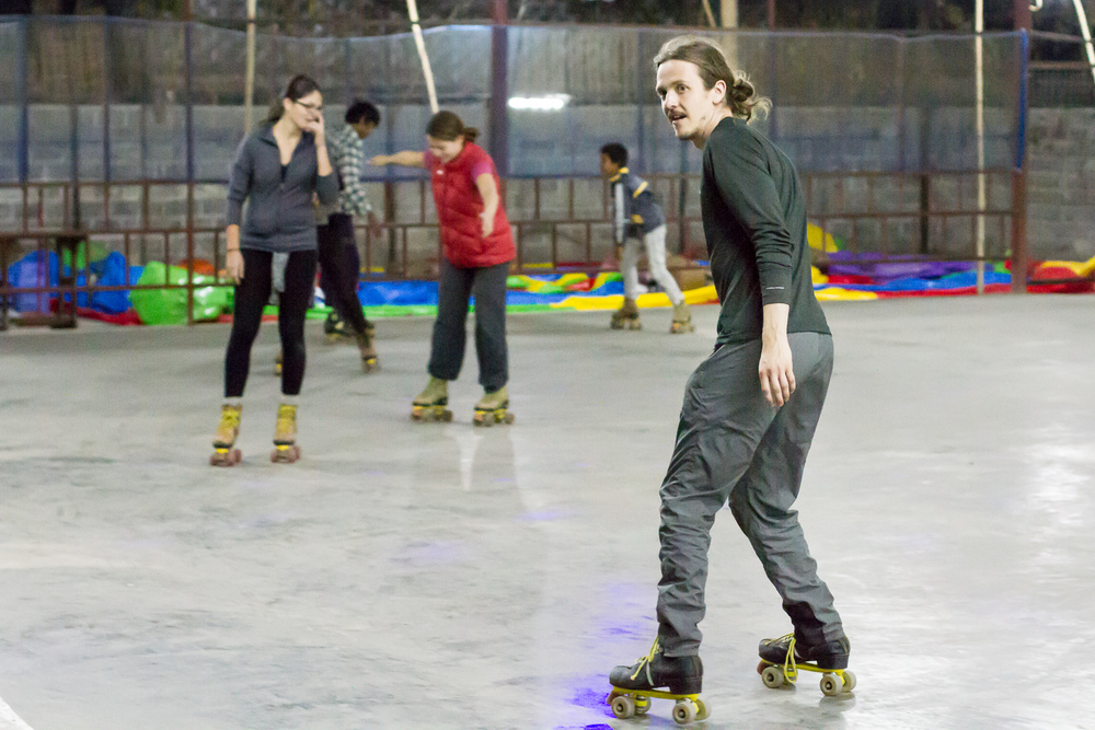 First time ever on skates like those and already a pro!