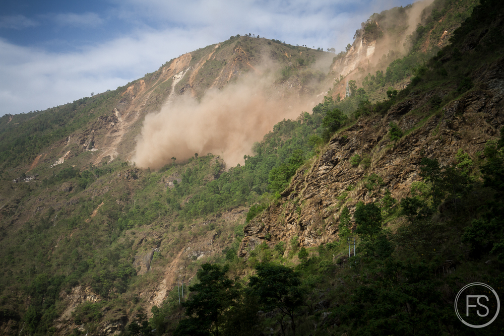There were few houses and the real danger does not come from falling buildings but rather from rocks and boulders falling down the hills in the landslides.
