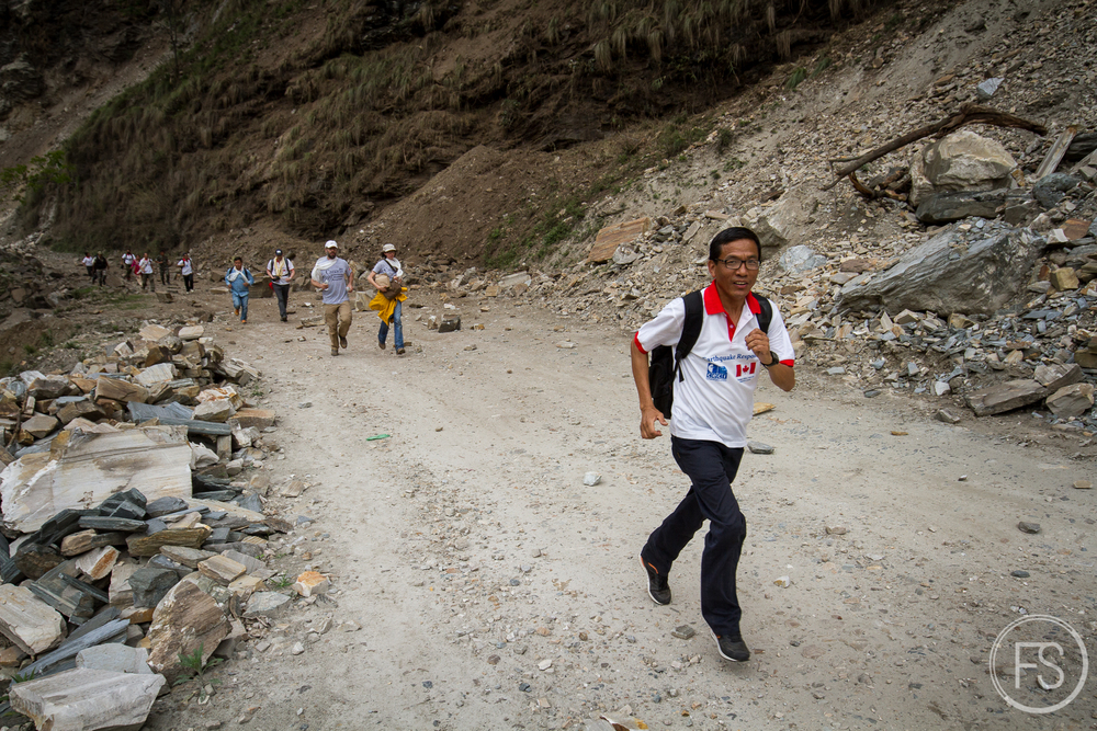 Some areas of the road were more prone to landslides than others and we had to run to reduce the chances...lots of fun.