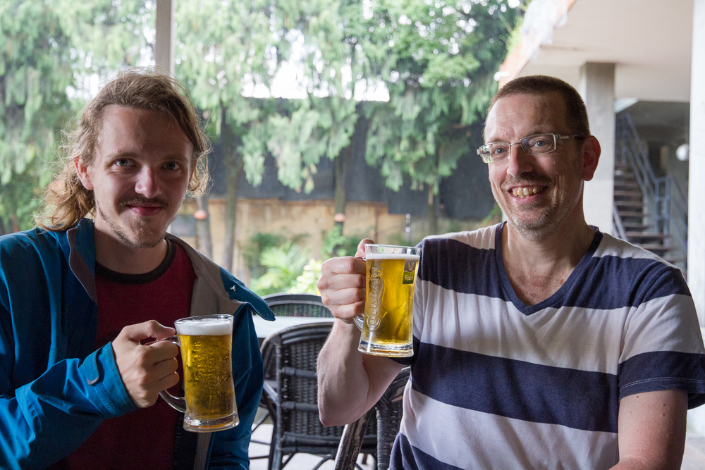 During the whole day, while running from the landslides and walking in the sun for 20 KM we kept talking about how much we needed to get a beer. We finally had it some days after. Cheers Marcel!