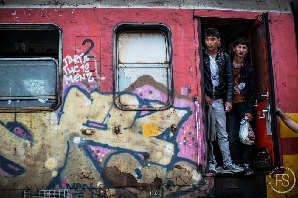 Refugees boarding the train in Gevgelija, Macedonia.