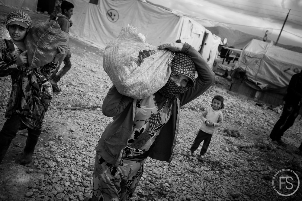Women carry food on their shoulders. Food sources are varied and unstable; farming, NGOs, volunteers donations, shop, etc. It's an everyday struggle for them but most manage to eat sufficiently enough. Basic food access is not the most pressing issue in the camp.Bekaa Valley, Lebanon.