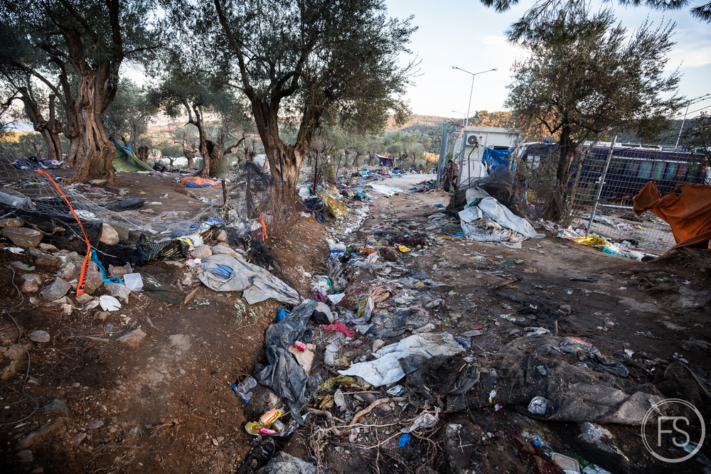 Endless piles of trash in the registration camp of Moria in the Eastern part of Lesvos island. The beaches are not the only part of the island suffering from the problem and these camps see thousands of refugees every day without any garbage bins or plan to clean up the trash.