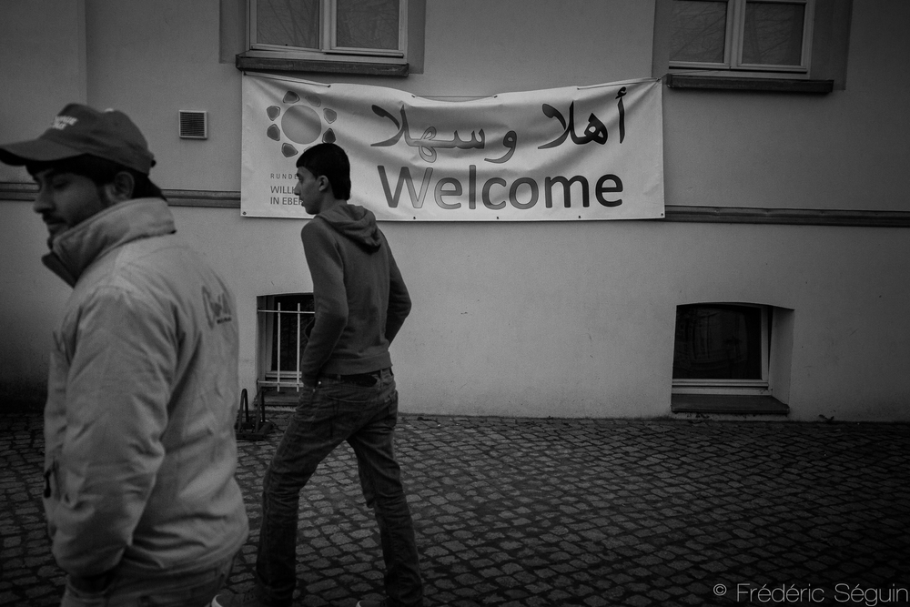 Temporary centers such as this one in Eberswalde serve as a shelter until refugees are assigned proper apartments. Eberwaslde, Germany.