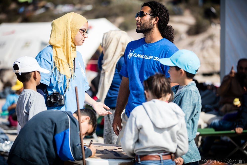 Volunteers from Islamic Relief USA are working in the transit camps as translators and coordinators, helping tremendously with communicating with refugees. OXY Camp, Lesvos Island, Greece.
