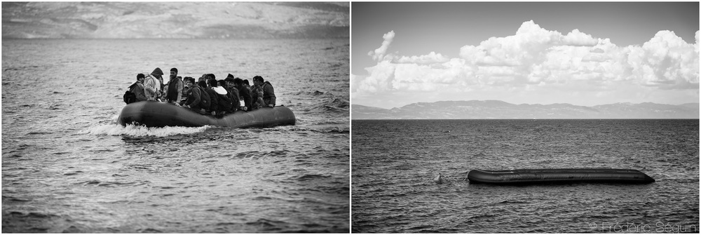 It is possible to see the Turkish coast from Skala Sikamineas, the beach on Lesvos where most boats were arriving. There used to be dozens of arrivals each day. Now, only one or two boat comes daily and a dinghy used by lifeguards stands alone. Lesvos, October 2015/June 2016.