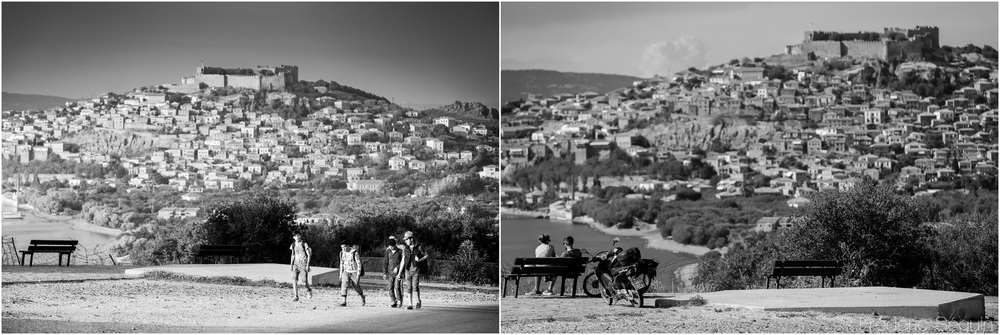 Beautiful Lesvos presents magnificent landscapes which are now looked at by couples on romantic dates where there were once refugees on their journey to a new life. Lesvos, October 2015/June 2016.