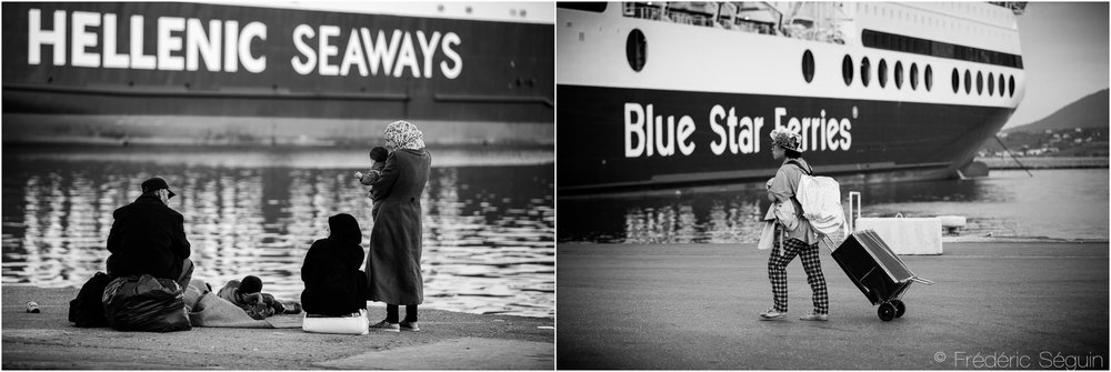 The gigantic ferries linking Athens to Mytilini harbor on Lesvos are now transporting their initial intended clients; tourists. Lesvos, October 2015/June 2016.
