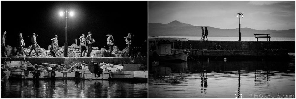 De nombreuses scènes tragiques ont pris place dans le port de Molyvos où les réfugiés arrivaient pendant la nuit après être secourus in extremis par les gardes côtes. Les touristes et pêcheurs du coin ont repris leur place traditionnelle. Ile de Lesbos, Octobre 2015/Juin 2016.