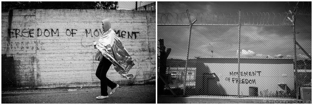 Le camp de Moria servait autrefois de point d'enregistrement pour les réfugiés poursuivant leur périple vers l'Europe de l'Ouest. Déjà à l'époque, ils rêvaient d'une plus grande liberté de déplacement. Le rêve a tourné au cauchemar et depuis la fermeture des frontières, le camp de Moria est maintenant un camp de détention. Ile de Lesbos, Octobre 2015/Juin 2016.