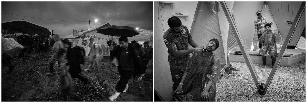 Les nombreux camps parsemant le périple migratoire étaient autrefois des arrêts temporaires de quelques heures jusqu'à une journée ou deux. Avec plus de 40 000 réfugiés pris en Grèce pour une durée encore indéterminée. La vie reprend son cours et la routine quotidienne s'établit dans une tentative de normalité et de permanence. Gevgelija, Macédoine, Octobre 2015/ Ile de Lesbos,Grèce, Juin 2016.