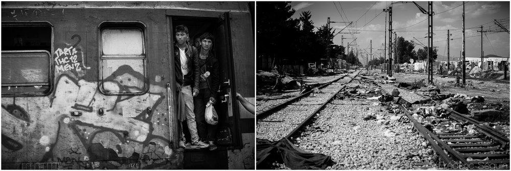 Du train qui transportait les migrants vers le nord de la Macédoine pour la Serbie, on ne retrouve que les rails et les traces de milliers de personnes y ayant élu domicile. Absents dorénavant sont le train et les réfugiés. Idomeni, Grèce. Octobre 2015/ Mai 2016.