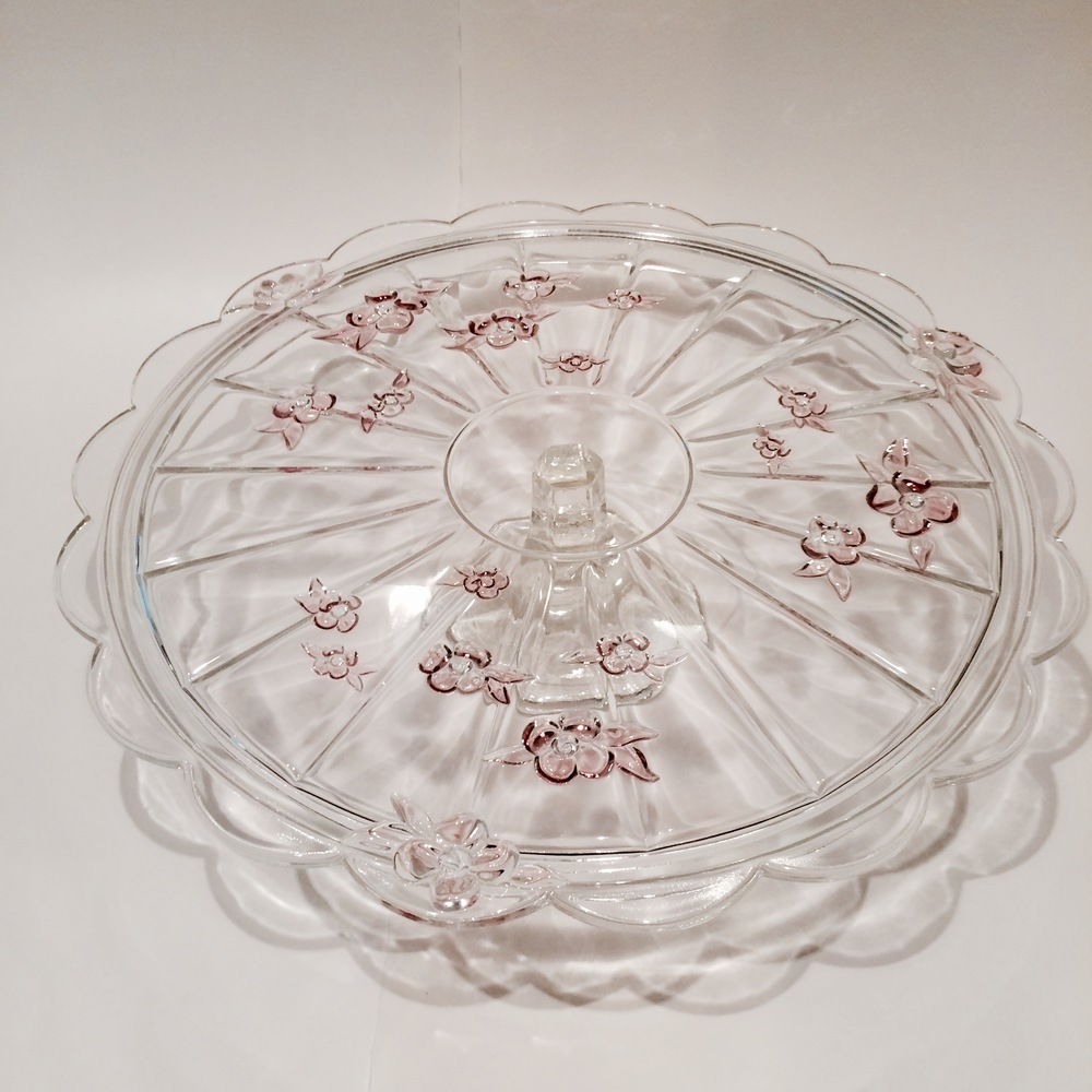 Clear & Rose Floral Glass Cake Plate
