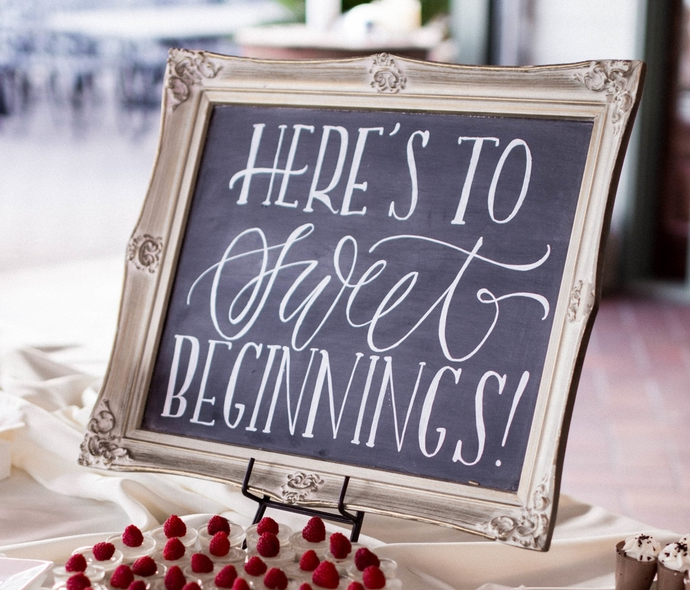 """Here's to Sweet Beginnings"" Gold Antique Chalk Board"