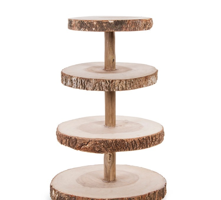 Rustic Wood Round Four Tier Stand